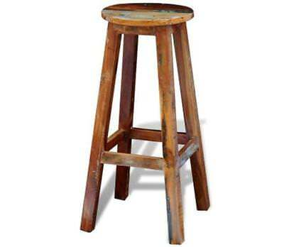 Handmade Vintage Antique Reclaimed Solid Exotic Wood Bar Stool High Chair Seat