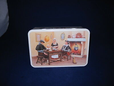 """Vtg Massilly France Biscuit Tin Box Dutch Pilgram Feast Fireplace 7.5"""" x 4.75"""""""