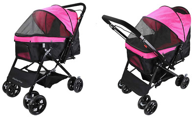 Reversible Pink Black Pet Stroller Travel Buggy Pushchair Pram Cat Dog Carrier