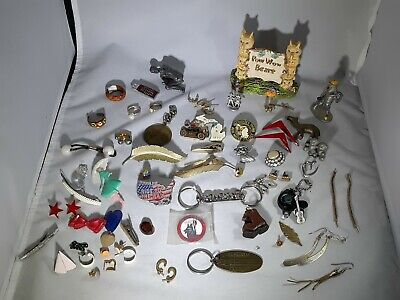 Eclectic Jewlery Junk Drawer Lot Lions Club Pins Key Chains Ear Rings Pewter Etc