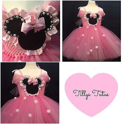Minnie Mouse Inspired Pink And White Tulle Tutu Dress,party dress,fancydress