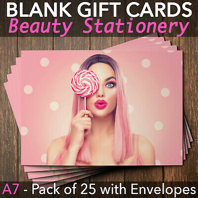 Gift Voucher Card Beauty Salon Manicure Makeup Facial Treatment x25 + Env.
