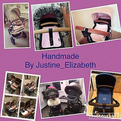Custom made Pram Items faux leather handles and bumper covers for bugaboos