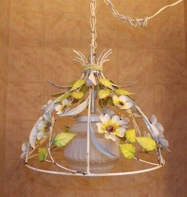 Vintage Mid Century Hanging Painted Tole Flowers Light Lamp Shabby Chandelier