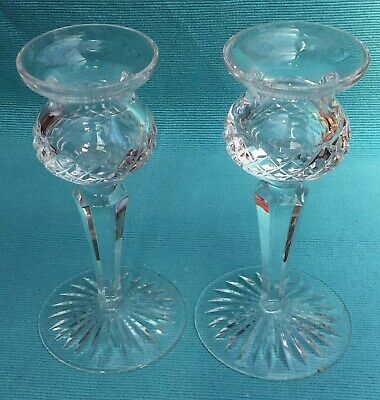 Beautiful pair of Stuart crystal thistle shaped candlesticks