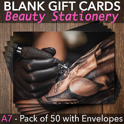 Gift Voucher Card Tattoo Salon Tattoo Removal Makeup Tattoo  x50 + Envelopes
