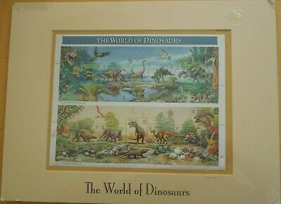 1996 Unopened World of Dinosaurs stamp 32 cents - Unsigned Matted Pane #8978E
