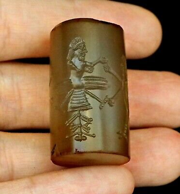 Ancient Original Sassanian Intaglio Cylinder Seal Worship Egypt God Rolling Bead