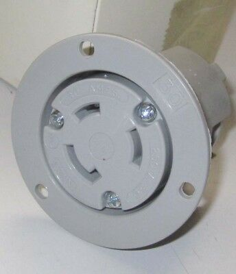 Locking Flanged Outlet 30A 250V 3PH 3P 3W Gray NEMA L11-30R AH6396
