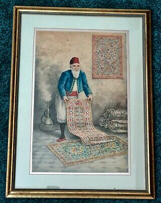 B. Marzini Orientalist Watercolor. Middle Eastern Carpet Seller. Egypt, Syria,