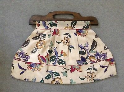 Beautiful Antique Hand Made French Linen Jacquard Floral Print Wooden Handle Bag