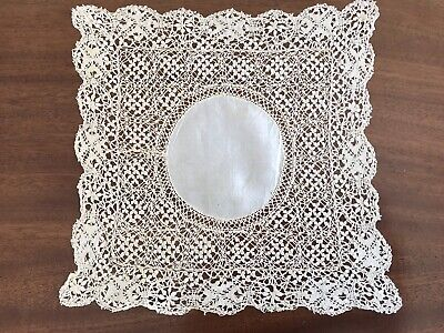 Antique Vintage Cream Silk Maltese Lace Wedding Handkerchief Hankie 11x11 Inches
