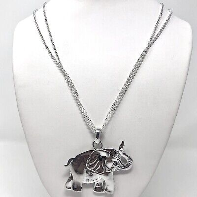 Arthur Court Necklace Aluminium Elephant 2.25in Jewelry 23in Chain Trunk Up
