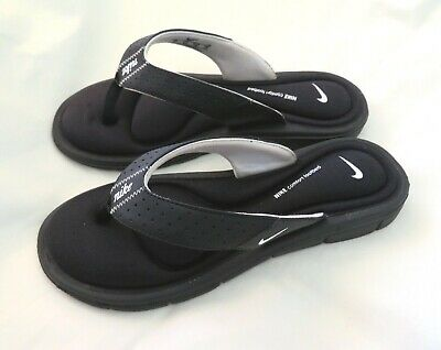 940b89550 Women s NIKE Comfort Footbed Black White Flip Flop Thong Sandals Shoe Size 8