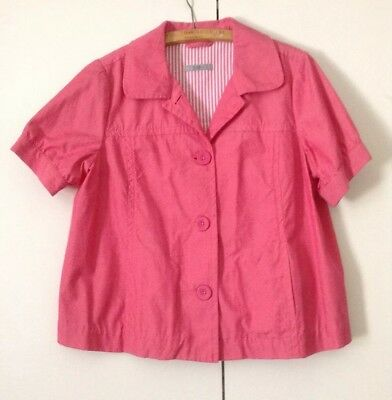 50's Style Pretty Flamingo Pink Marks & Spencer Cotton Short Sleeved Day Coat 14