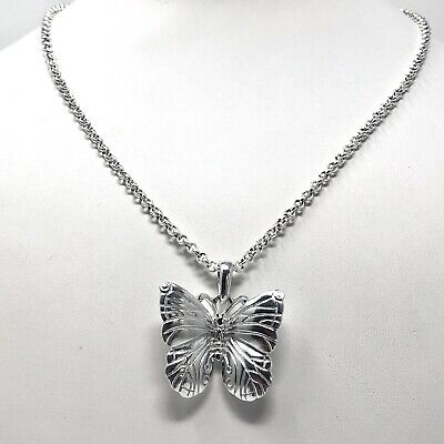 Arthur Court Necklace Signed Small  1.5in Butterfly 18 To 20in Aluminum Jewelry