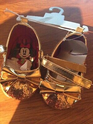 Disney Baby UK 0-6 Months Gold With Bow Velcro Fastening Shoes BNWT