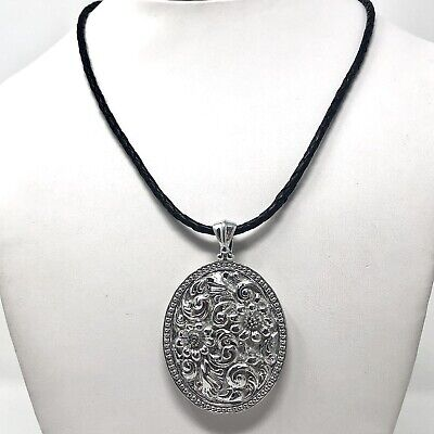 Arthur Court Jewelry Necklace Aluminium 2.5in Flower 18in Black Leather Signed
