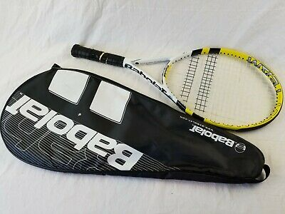 Babolat Contact Team Tennis Racquet  Yellow & Black Very Nice with bag AEG 4