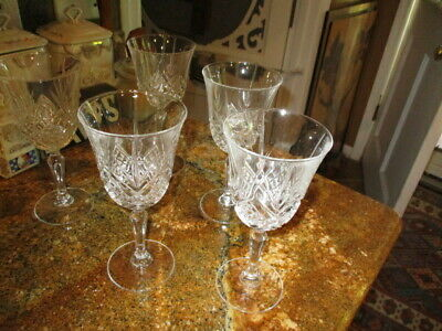 "5 Waterford Crystal  Wine Glasses 7 1/2"" ALL IN MINT CONDITION"