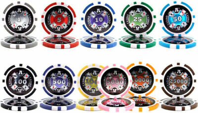 Ace Casino 14g Clay Poker Chips Sample Set New - 11 Denominations