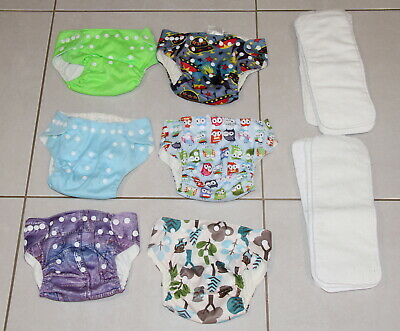 Reusable/Washable baby cloth nappies made by JAZZY BUMS 6 nappies/8 inserts