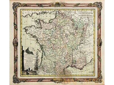 France old map La France Divisee by Brion la Tour 1766
