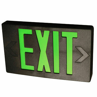 LED Exit Sign Black Finish W/ Green Letters, 1 or 2 Sided, Battery Backup