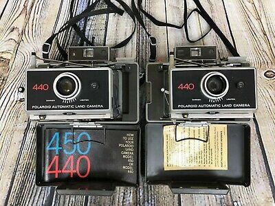 Lot of 2 POLAROID 440 Vintage Automatic Folding Instant Land Camera (1971 - 76)
