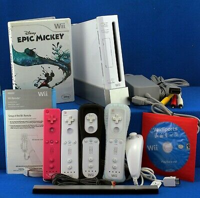 Nintendo Wii Sports Console Bundle w 4 Controllers, 2 Games, Cables Fully Tested