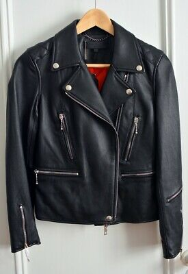 0f96cd58e4c20 Rag & Bone Arrow Black Leather Zippered Moto Jacket Size 00 / XXS Orig  $1295 NWT