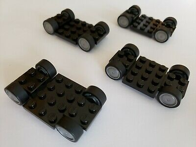 Lego X6 City Smart Car Black Vehicle Base 4x7x2//3 W// Tires And Wheels Parts Lot