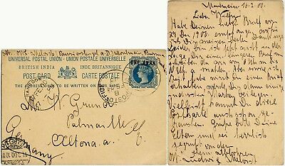 BURMA QV STATIONERY CARD to GERMANY 1900 MOULMEIN to ALTONA ELBE