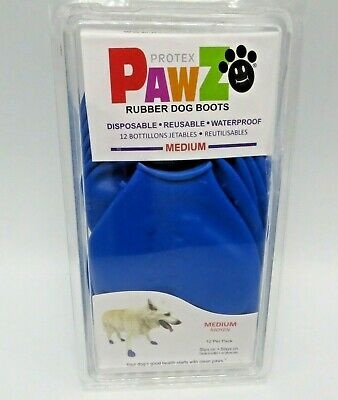 Protex Pawz 12 pack Medium Dog Boots Rubber Waterproof Reusable Disposable Blue