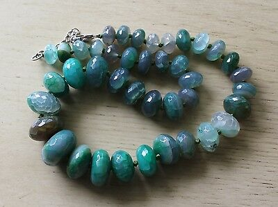 Sterling Silver Carved Faceted Green Jade Color Stone Bead Necklace Marked LUC