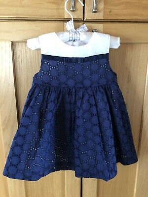 First Impressions Baby Girls Dress 12M Navy Blue White Lace Cotton NWT!