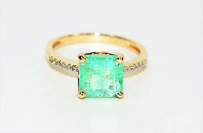 Green Beauty 2.87tcw Untreated Colombian Emerald & Diamond 14kt Yellow Gold Ring