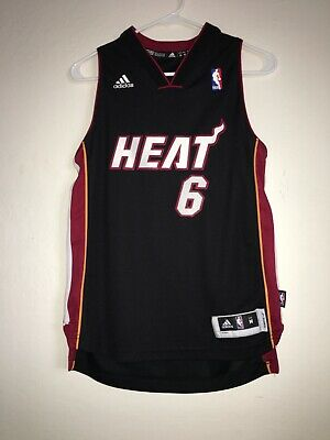 990c3ff2dda1 Adidas NBA Miami Heat LeBron James Black 6 Jersey Youth Size Medium M+2