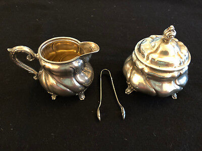 "German ""HandArbeit"" 835 Sterling Silver 3 pc. Sugar, Creamer bowls and tong"