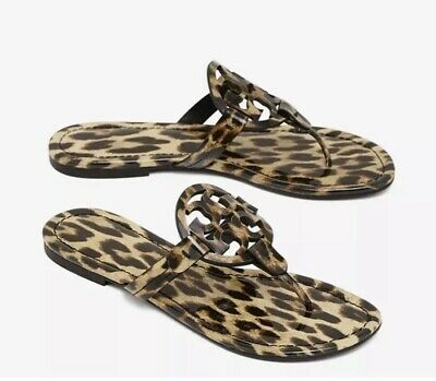 aa79ace185bf TORY BURCH MILLER Leopard Patent Leather Flat Thong Sandal Size 9 ...