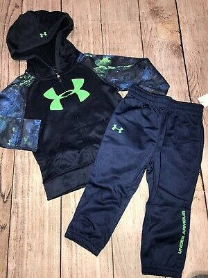 Under Armour 18 Months 2T 3T 4T Blue Green Zip Hoodie Pants Outfit Set NEW