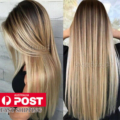 Women Ladies Classic Straight Hair Wig Ombre Blonde Synthetic Fashon Natural Wig