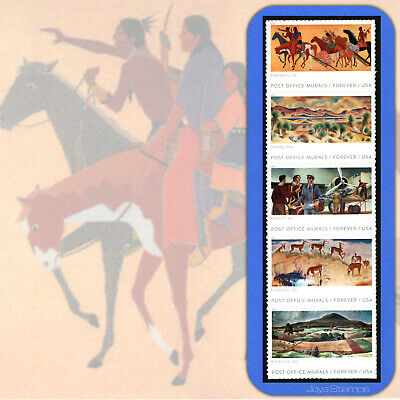 2019 POST OFFICE MURALS Strip of 5  Forever® Stamps Not in Cat order #5372-5376
