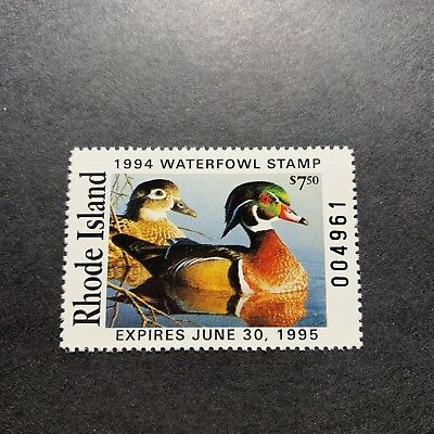 WTDstamps - RHODE ISLAND 1994 - State Duck Stamp - Mint OG NH -
