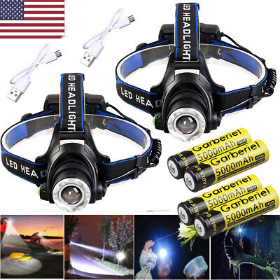 100000Lumen T6 LED Zoomable Headlamp USB Rechargeable 18650 Headlight Head Torch