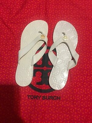2e89bd72c NIB Tory Burch Monroe Leather Flat Logo Thong Flip flop Sandal Slide White  8.5