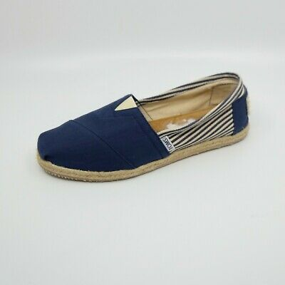 b82779c3aac Toms Stripe University Classic Rope Sole Flats Blue/White Womens Sz 9.5 W
