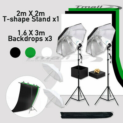T Type Backdrop Support +Black White Green Screen 1350W Photo Umbrella Stand KIT