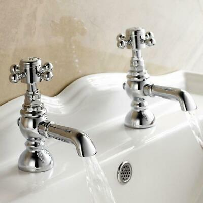 Traditional Pair Hot Cold Basin Sink Taps Chrome Vintage Faucets Twin Brass