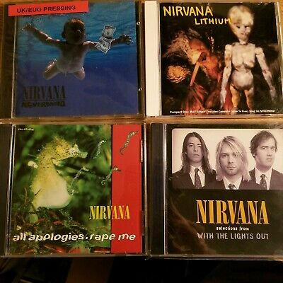 Nirvana RARE CD Lot (Nevermind, *With The Lights Out, Lithium, All Apologies) UK